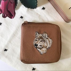 Vintage Wolf Embroidered Brown Small Wallet